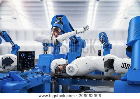 3d rendering robot assembly line producing cyborg in factory
