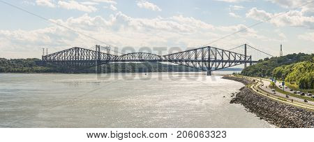 The Quebec Bridge is a riveted steel truss structure