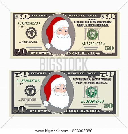 USA banking currency, cash symbol 50 dollars bill. Money set, paper banknotes fifty dollars with Santa Claus. Christmas vector. Suitable for discount cards, leaflet, coupon, flyer, vouchers.