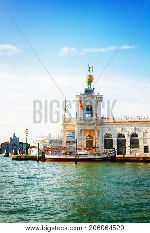 Dogana, old custom house in Venice, Italy, retro toned