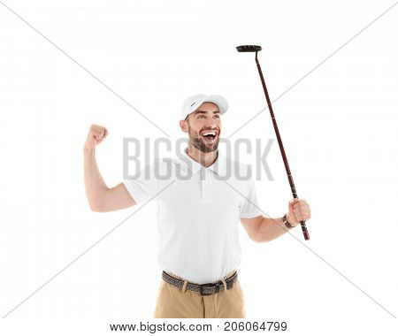 Cheerful male golf player on white background