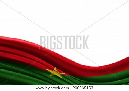 Grunge colorful flag Burkina Faso with copyspace for your text or images,isolated on white background. Close up, fluttering downwind.