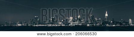 Midtown Manhattan skyline black and white at dusk panorama over Hudson River
