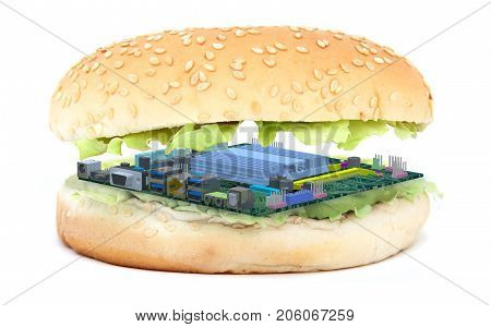 Sandwich With Pc Mother Board Instead Of An Burger