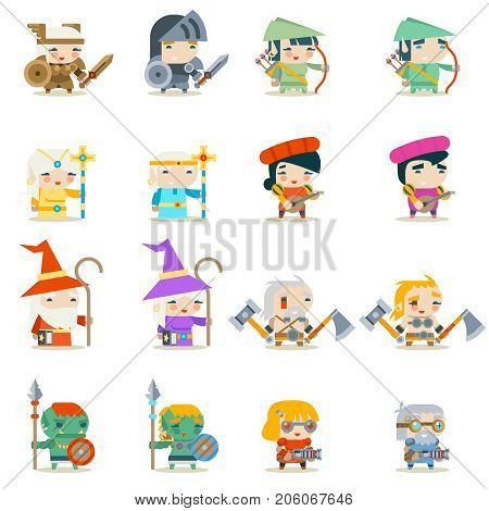 Male Female Fantasy RPG Game Vector Character Icons Set Vector Illustration