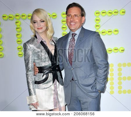 Emma Stone and Steve Carell at the Los Angeles premiere of 'Battle of the Sexes' held at the Regency Village Theatre in Westwood, USA on September 16, 2017.