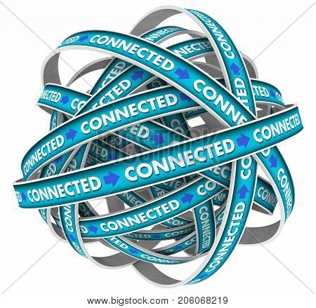 Connected Loop Network Word 3d Illustration