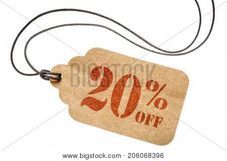 twenty  percent off discount  - a paper price tag with twine isolated on white
