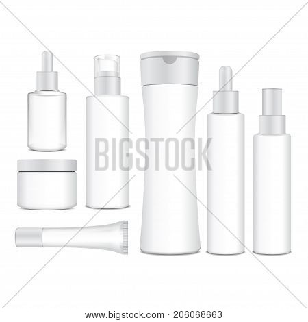 Realistic cosmetic white vector bottles. Vector containers, tubes, sashet for cream, balsam, lotion, gel, shampoo, foundation cream. 3d Illustration for your design