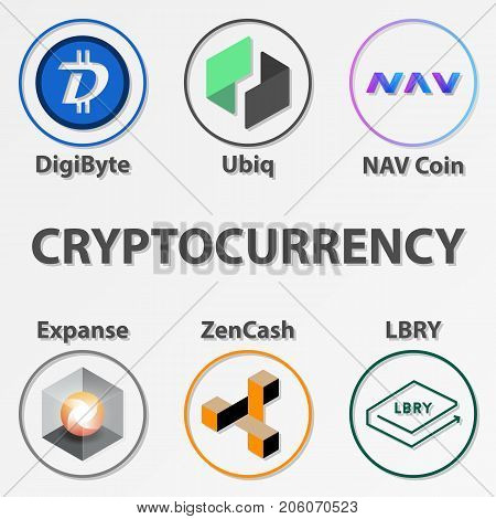 Set of 6 cryptocurrency icon. Colorful zencash digibyte and etc