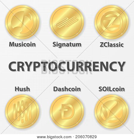 Set of 6 cryptocurrency icon. Golden zclassic hush and etc
