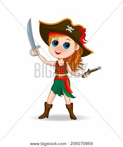 Little girl in a pirate costume. Cartoon girl dressed in a pirate costume with hat on head and sword in hand.