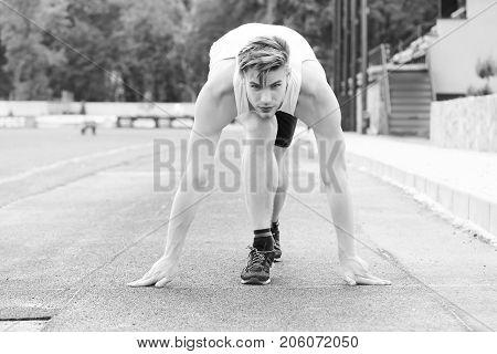 Athlete Runner In Steady Position On Treadmill Ready To Run