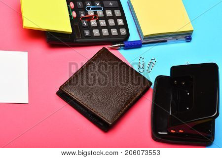 Business And Work Concept: Office Tools And Wallet