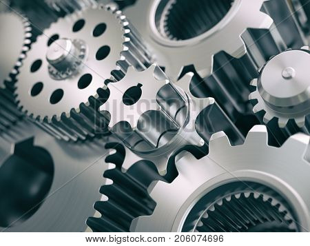Gears and cogwheels engine  industrial background. 3d illustrartion.