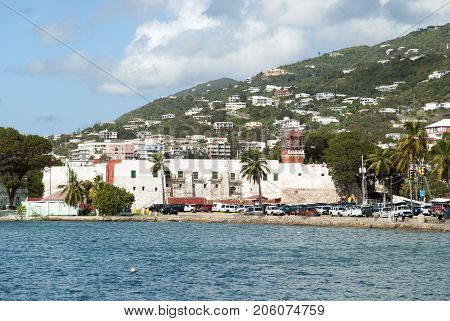 The historic 17th century Fort Christian in Charlotte Amalie town on St. Thomas island (U.S.Virgin Islands).