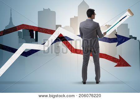 Businessman drawing charts in forecasting concept