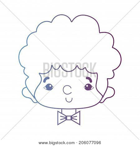 line avatar man head with hairstyle and bowtie vector illustration