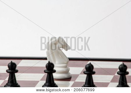 chess white horse in front of black pawns. concept of struggle. Isolated on white background.