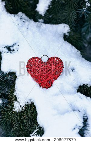 Red Handmade Heart On Branches