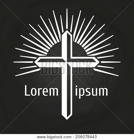 Vintage cross and rays on chalkboard. Christian and belief concept. Vector illustration