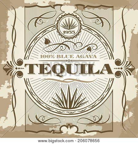 Vintage tequila vector poster design. Banner bar retro illustration style