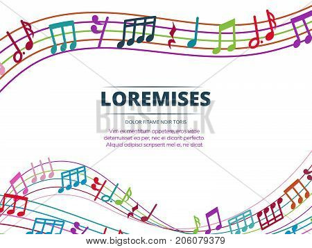 Colorful musical notes and sound waves vector background. Melody abstract illustration