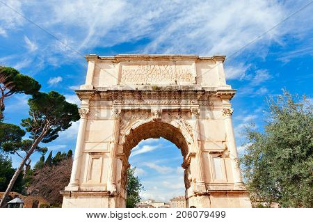 Triumphal Arch Of Titus .The Ancient Roman Forum.Rome Italy