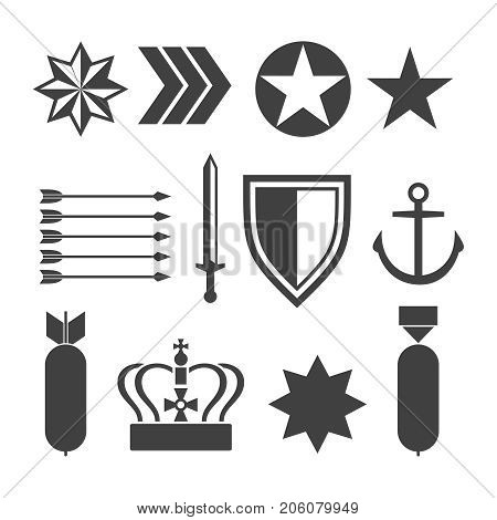 Military army elements collection isolated on white. Army elements, vector illustration