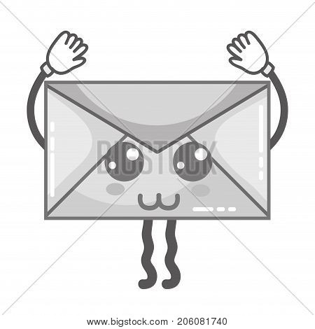 grayscale kawaii cute happy e-mail message vector illustration