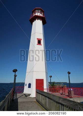 The Wawatam Lighthouse in St. Ignace, Michigan was built in1998 outside the Welcome Center in Monroe, Michigan near the border of Ohio, far from navigable waters. Moved in 2006 to the Upper Peninsula, it is now a U.S. Coast Guard station with an operating