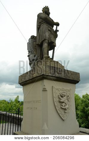 A view of a statue of a historic Scottish figure
