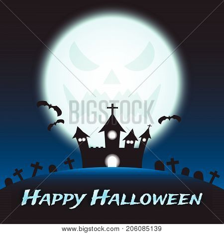 Vector Happy Halloween Night Illustration Of A Silhouette Curved Castle On A Hill Among Graveyard Under The Big Blue Shinning Monstrous Full Moon With Three Flying Bats