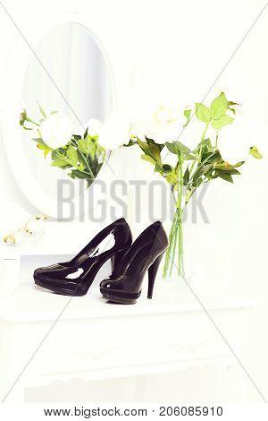 Black Shoes On Female Boudoir