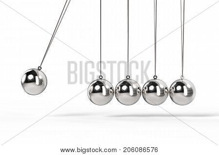 3d rendering shiny newton cradle on white background