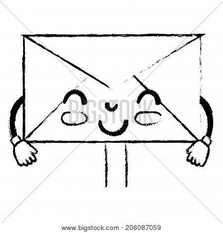 figure kawaii cute happy e-mail message vector illustration