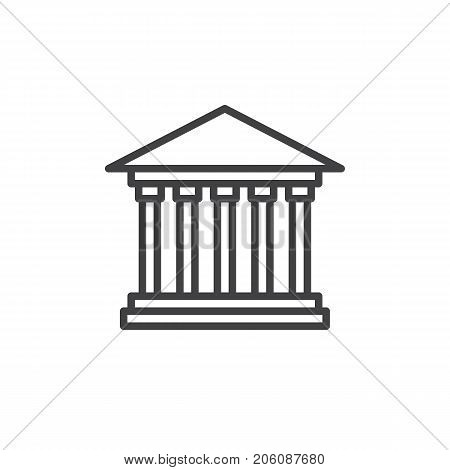 Courthouse line icon, outline vector sign, linear style pictogram isolated on white. Symbol, logo illustration. Editable stroke