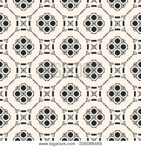 Vector monochrome ornamental geometric background. Stylish seamless pattern in Arabian style. Traditional motif in modern digital rendition. Elegant oriental texture. Carved lattice, repeat tiles.