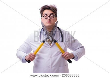Funny doctor with shears isolated on white