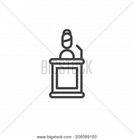 Witness line icon, outline vector sign, linear style pictogram isolated on white. Symbol, logo illustration. Editable stroke