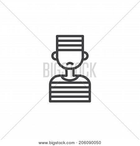 Prisoner line icon, outline vector sign, linear style pictogram isolated on white. Symbol, logo illustration. Editable stroke