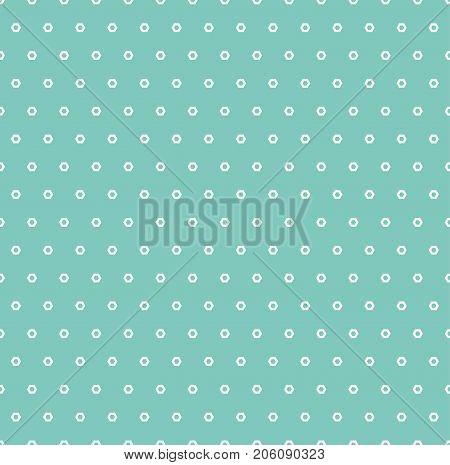 Minimalist seamless pattern with tiny perforated hexagons. Simple geometric abstract background. Subtle texture in trendy colors, aqua green and white. Vintage repeat decorative design. Stock vector. Geometric pattern. Design pattern.