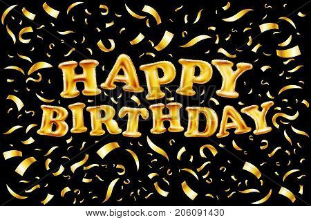 Upper Case Letters Happy Birthday From Gold Balloons Lettering On Golden Confetti Black Background G