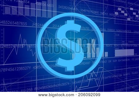 Vector business theme illustration. A dollar sign against the background of electronic digits and graphs.