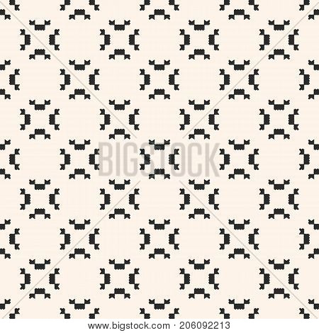 Vector geometric seamless pattern. Ornamental tribal texture with small jagged shapes, angular figures. Abstract monochrome repeat background. Versatile design for decoration, fabric, textile, prints.