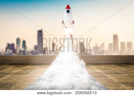 3d rendering space shuttle launch to sky