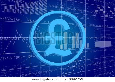 Vector business theme illustration. A pound sterling sign against the background of electronic digits and graphs.