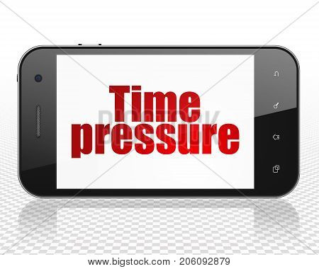 Timeline concept: Smartphone with red text Time Pressure on display, 3D rendering