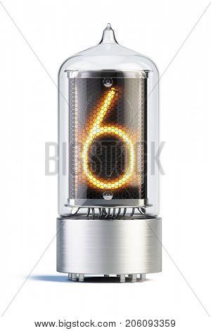 Nixie tube indicator isolated on white - set of decimal digits. 3d rendering.