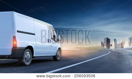 Delivery van drive at night as logistics concept (3D Rendering)